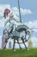 jousting knight in armour on horseback