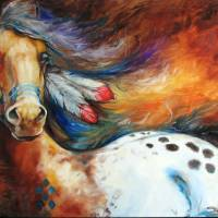 """SPIRIT INDIAN WARRIOR PONY"" by MBaldwinFineArt2006"