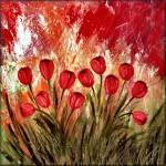 """""Boastful Garden"" Contemporary Abstract Tulips"" by peggygarr"