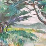 """Carmel Beach plein air"" by saz"
