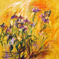 Purple Coneflowers & Butterflies Original Painting