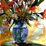 """Flowers In Blue Glass Vase Watercolor Still Life"" by GinetteCallaway"