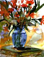 Flowers In Blue Glass Vase Watercolor Still Life
