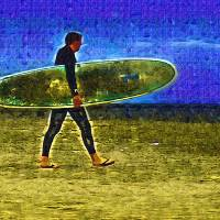 Fauvist Venice Beach Surfer Art Prints & Posters by Deborah Carney