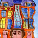 """Whimsical, Fantastical, Wavy Buildings; Children"