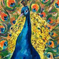 Peacock Splendor Original Oil Painting by Ginette Art Prints & Posters by Ginette Callaway
