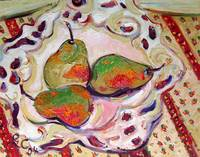 Pears in Reticulated Bowl Oil Painting by Ginette