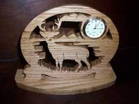 Deer wooden mini desk clock