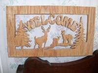 Wooden Deer Welcome sign wall hanging