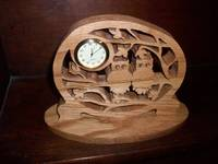 Owls wooden mini desk clock