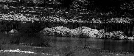 cliff greyscale winter