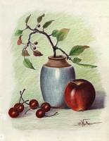 Still Life with Apple and Cherries
