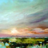 """Salt Marsh Sunset Original Oil Painting by Ginette"" by GinetteCallaway"