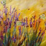"""Lavender Bees & Butterflies Original Painting by G"" by GinetteCallaway"