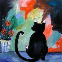 Modern Black Cat Painting by Ginette