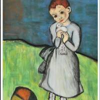 Girl with a Pigeon_after Picasso Art Prints & Posters by Linda Hubbard