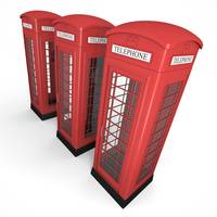 Three Red Phone Booths