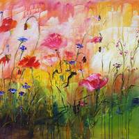Wildflowers Original Painting by Ginette Callaway