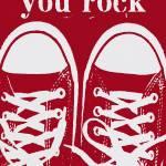 """YOU ROCK - RED VINTAGE CONVERSE SNEAKERS"" by lisaweedn"