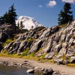 """Mount Baker, Artist Point Tarn, Rock Wall"" by ketchemr"