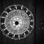 """Black and white crystal chandelier"" by kenlawrence"