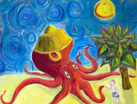 Giant Octopus Wearing a Silly Hat