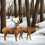 """Whitetail Deer In Snow"" by waterart"