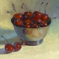 """Cherries In Silver Bowl"" by hallgroat"