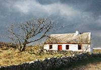 IRISH COTTAGE WITH THE RED DOOR