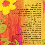 """LISTEN TO THE CHILDREN - yellow & pink & orange"" by lisaweedn"