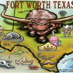 """Fort Worth TEXAS Map"" by FunGraphix"