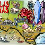 """Dallas TEXAS Map"" by FunGraphix"