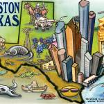 """Houston TEXAS Map"" by FunGraphix"
