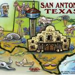 """San Antonio TEXAS Map"" by FunGraphix"