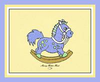 Blue Rocking Horse with border