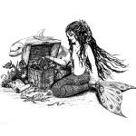 """""""Mermaid - Lilly & Dolphin - Pen & Ink Drawing"""" by savanna"""