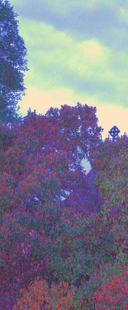 impressionist flowers & cross