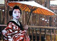 Geisha in the snow