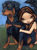 Fairy with a Rottweiler