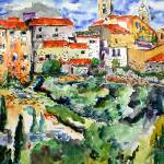 """French Hillside Village Provence Watercolor Ginett"" by GinetteCallaway"