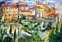 French Hillside Village Provence Watercolor Ginett
