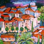 """Village French Riviera Painting By Ginette Callawa"" by GinetteCallaway"