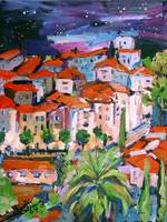 Village French Riviera Painting By Ginette Callawa