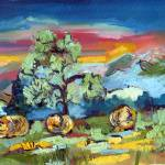 """Hay Bales Landscape Painting by Ginette Callaway"" by GinetteCallaway"