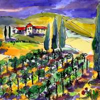 Tuscan Vineyard Summer in Tuscany Art Prints & Posters by Ginette Callaway