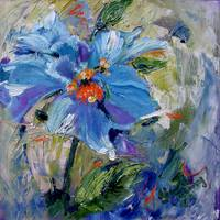 Himalayan Poppy Oil Painting by Ginette
