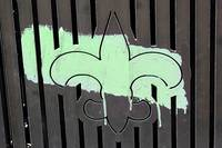 Fleur de Lis with Painted Brush Stroke