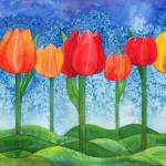"""Tulip Trees Watercolor"" by foxvox"