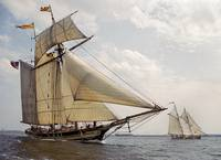 Pride of Baltimore ll sails with Alcyone by Bill M