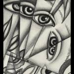 """FRACTIONAL-EYES 1 THIN BORDER-7X10"" by georjana"